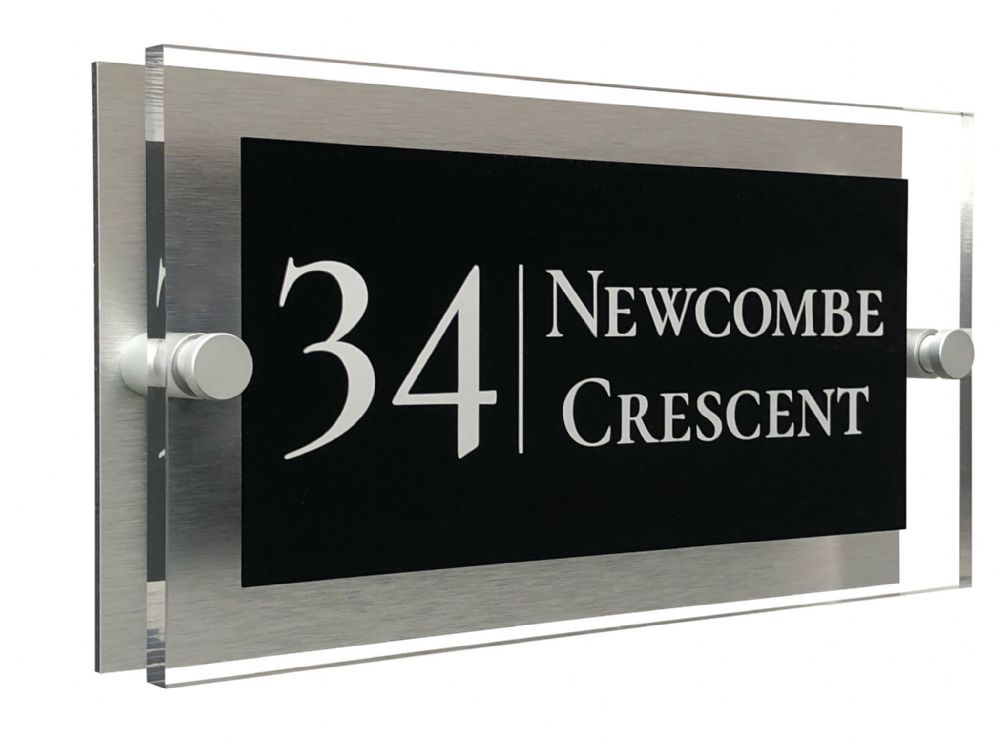 Rectangle Shape - Clear Acrylic House Sign - Black Colour with White text in Font  2